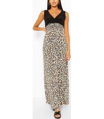 2-in-1 maxi luipaardprint jurk, luipaard