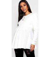 maternity gathered sleeve peplum top, ivory