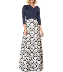 women's kay unger izabella a-line evening gown, size 4 - blue