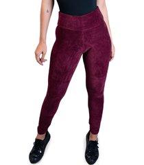 calça legging mvb modas veludo cotelê cintura alta vinho
