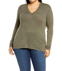 plus size women's treasure & bond mineral wash long sleeve t-shirt, size 3 x - green