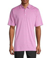 dunning golf men's montrose striped jersey golf shirt - berry - size xl