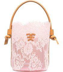 ermanno scervino semi-sheer floral lace bucket bag - pink