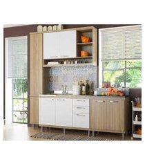cozinha compacta completa multimóveis com 4 peças sicília 5812 argila/branco
