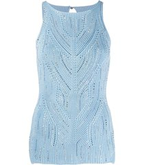 ermanno scervino studded detail chunky knit top - blue