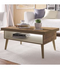 mesa de centro lucca com nicho pinho/off white - artely
