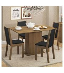 conjunto sala de jantar madesa talita mesa tampo de madeira com 4 cadeiras rustic/preto/sintético preto rustic