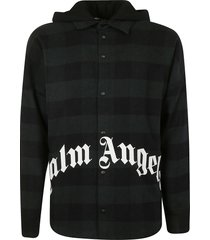 palm angels logo hooded oversized shirt