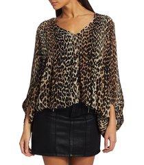 ganni women's pleated georgette leopard top - leopard - size 36 (4)