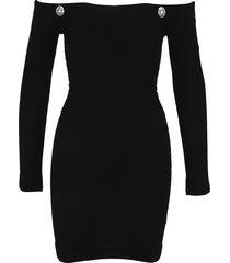 balmain off the shoulder knit dress