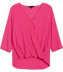 women's gibson surplice blouse, size large - pink