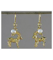 gold plated cultured pearl dangle earrings, 'radiant capricorn' (thailand)