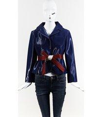maison margiela blue red silk blend belted jacket