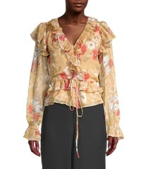 walter baker women's ruffled floral-print blouse - poppy - size xs