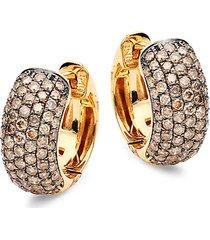 14k yellow gold & brown diamond chubby hoop earrings