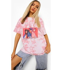 gelicenseerd oversized tie dye tlc t-shirt, pink