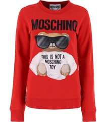 moschino teddy bear embroidery hoodie