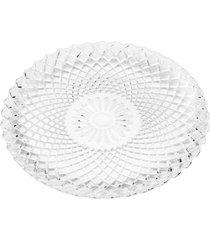 conjunto de 6 pratos rasos de vidro 25cm herbert