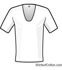 shirtsofcotton t-shirt wit extra diepe v-hals 2-pack