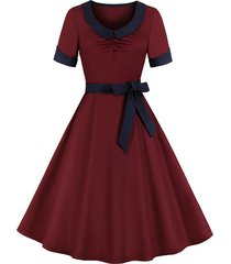 collared cuffed belt 1950s dress