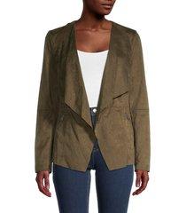 vigoss women's faux suede wrap jacket - natural - size s