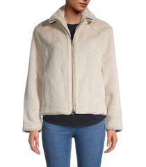 vince women's plush faux-fur jacket - iron - size l