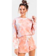 jax tie-dye lounge shorts - coral