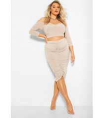plus twist front top and ruched midi skirt, nude