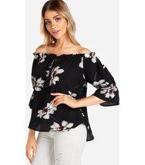 blusa con cordones, estampado floral al azar, fuera del hombro, 3/4 de longitud, mangas acampanadas, negro