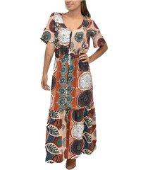 vestido m/c alforzas etnico