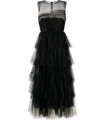 red valentino tiered evening gown - black