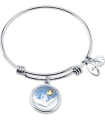 unwritten florida state adjustable bangle bracelet in stainless steel silver plated charms