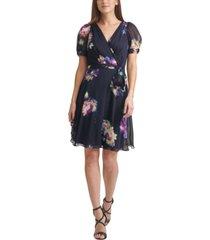 dkny floral-print knot-sleeve faux-wrap dress
