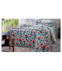 jogo de cama casal 140 fios sultan realce clara 4 peças rosa/verde
