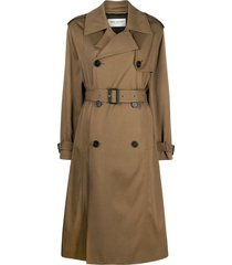 saint laurent twill belted trench coat - brown