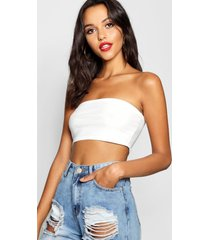 tall strapless jersey top, wit