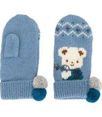 familiar intarsia knit mittens - blue