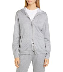 women's brunello cucinelli monili trim cotton & silk blend hoodie