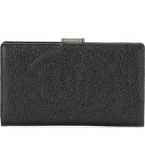 chanel pre-owned 1998 cc long bifold wallet - black