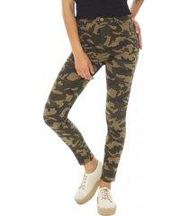 jeans print mujer militar corona