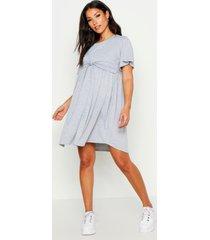 maternity overlay nursing smock dress, grey