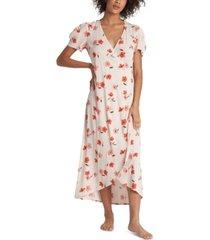 billabong floral fields printed wrap midi dress