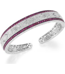 ruby (1-3/4 ct. t.w.) and diamond (1/10 c.t. t.w.) cuff bangle bracelet in sterling silver