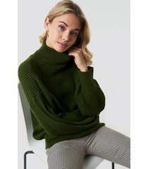 trendyol balloon sleeve knitted polo jumper - green