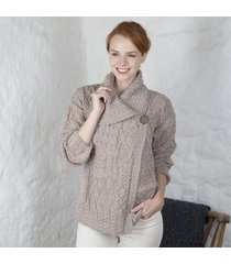 ladies one button aran cardigan beige medium