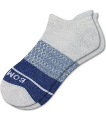 men's bombas color block ankle socks, size large - grey