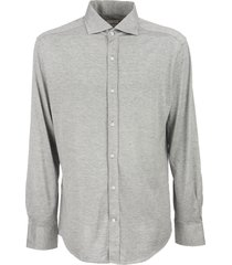 brunello cucinelli slim fit shirt in light silk and cotton jersey with french collar