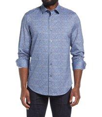 men's bugatchi ooohcotton tech knit button-up shirt, size small - blue