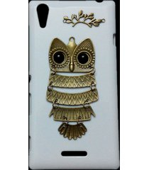 cute retro bronze metal owl branch hard back skin case cover for sony xperia t3