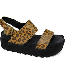 sandalia de cuero animal print tamara shoes